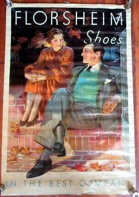 Rare Vintage 20s Florsheim Shoes in Best Company Ad Fancy Couple on Date Poster