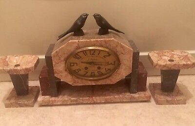 Art Deco French Marble Garniture Clock surmounted 2 swift bird GWO