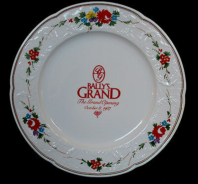 """Bally's Casino Collector's Plate Hotel 1987 Grand Opening Porcelain Floral 12"""""""