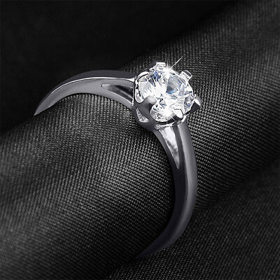 Womens Cute 1.0 CT ROUND CUT Engagement Promise RING White Gold Plated SIZE 5-9