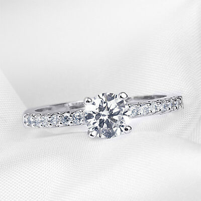 0.75 CT Promise RING Engagement Anniversary ROUND CUT White Gold Plated SIZE 5-9