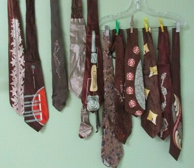 Vintage Mens Brown Tie Collection Of 11 / Bold And Beautiful Designs