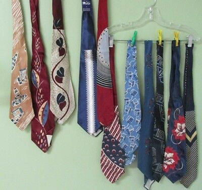 Vintage Mens Blue Tie Collection Of 11 / Bold And Beautiful Designs