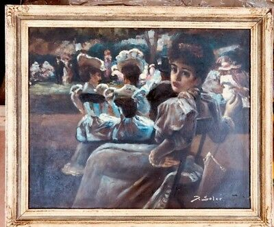 1930s French  impressionist oil painting of garden party signed J.Soler ??