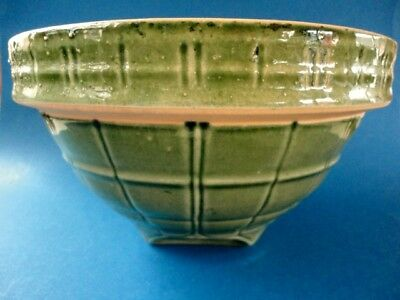 Vintage McCoy Green Windowpane Yelloware Mixing Bowl 9