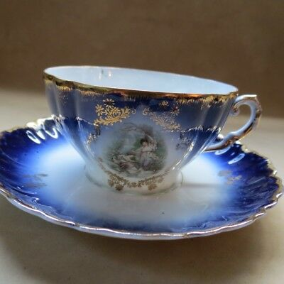 Vintage Antique Two Women Tea Cup and Saucer Cobalt Blue, White and Gold