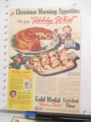 newspaper ad 1940s GOLD MEDAL flour Christmas cake angel WWII American Weekly