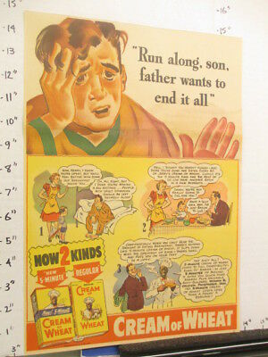 """newspaper ad 1940 American Weekly CREAM OF WHEAT cereal box """"father end it all"""""""