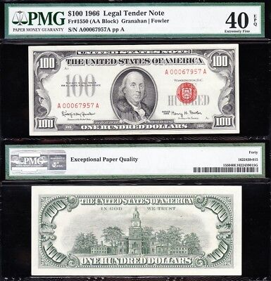 Awesome HIGH GRADE 1966 $100 RED SEAL US Note! PMG 40 EPQ! FREE SHIP! A00067957A