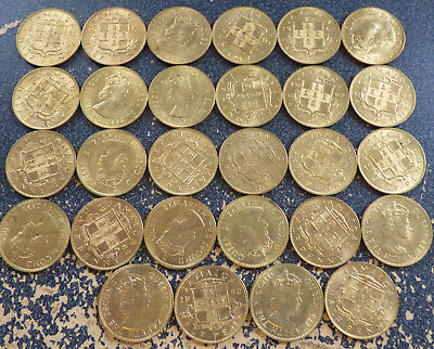Jamaica 1/2 Penny 1962, Dealer Lot of 28 XF Coins w/ Spotty Toning, QEII Issues