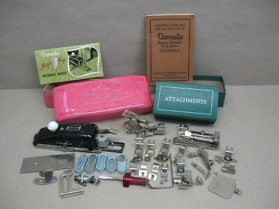 Vtg Domestic Rotary 153 Sewing Machine Attachments Feet Buttonholer Manuals Case