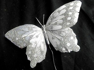 """6 NEW   Silver & White Glitter 5"""" feather  Butterflies on wire floral, craft"""