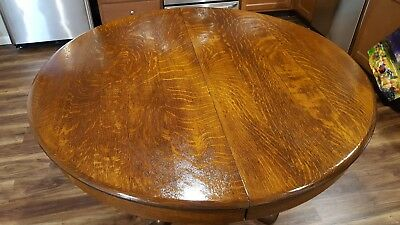 "OLD Vintage Antique Tiger Oak 51"" Round Dining Table w/2 Leaves & bottom pads."