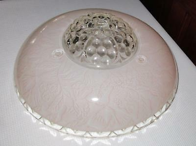 Beautiful Vintage 3 chain Glass Ceiling Light Shade Glass Pink Peach 1930s