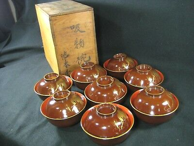 Japanese  Antique  Signed Set Of 8 Gold & Brown Lacquer Lidded Bowls Crane