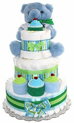 3 Tier Diaper Cake Blue Teddy Bear For Boy Baby Gift Shower Theme Decorated