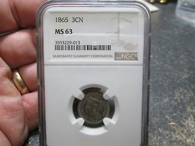 1865 3 Cent Nickle In Ngc Ms63 Uncirculated Condition