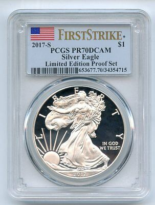 2017 S $1 American Silver Eagle PCGS PR70DCAM First Strike Limited Edition
