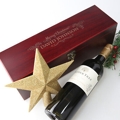 Christmas Personalised Engraved Wooden Stained Wine Bottle Gift Box Set Present