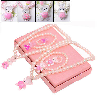 Baby Kids Girls Princess Beads Necklace Bracelet Ring Set Jewelry Gift Tops UP