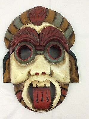 Hand Carved Wood Asian Thialand Ceremonial  Ancient Face Mask (002)