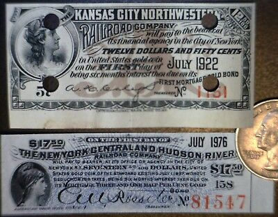 1897 York Central & Hudson River +1917 Kansas Railroad Bond Notes 2 pc LOT #4 NR