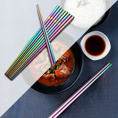 24cm Rainbow Food Grade Stainless Steel Upscale Chinese Chopsticks Tableware New