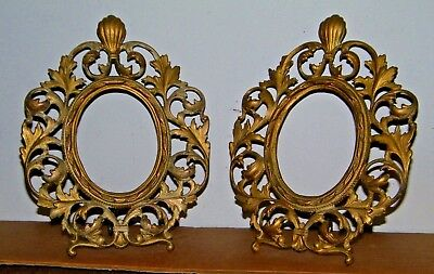 2 Solid Brass Ornate Easel Back Small Oval Picture Frames Beautiful Victorian