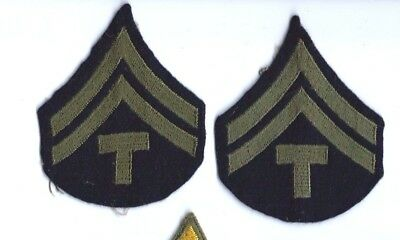 WW2 US Military Corporal Wool rank insignia chevrons matched pair E3 Tech Corpor