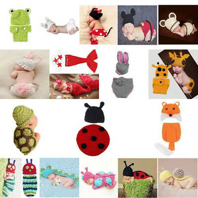 Crochet Knitted Animal Costume Set Photography Photo Adorable Prop For Baby