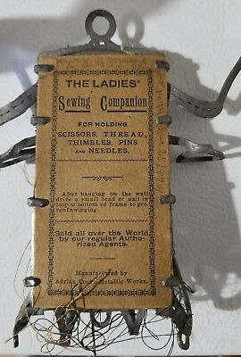 Antique Ladies Sewing Companion Adrian Cooke Metallic Works Wall Hanging