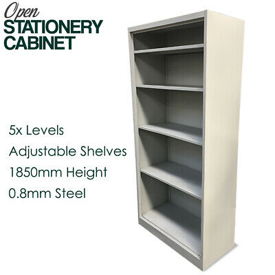 Open Stationery Cabinet 1850mmH x 900mmW x 400mmD Steel Shelves - Run out sale!