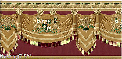 Burgundy Golden Green Coat of Arms Swag Drapery Valance Drape Wall paper Border