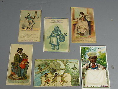 Lot of 6 Black Americana Victorian Trade Cards / FREE Shipping