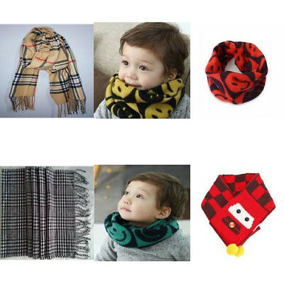 Classic Grid Plaid Scarves Neckerchief Wool Spinning with Tassels For Kids