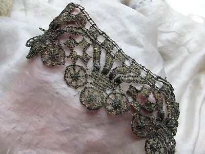 Delicate Ornate Antique French Fine Gold Gilted Metal Mesh Lace Trim Pcs Two
