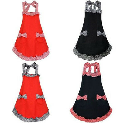 Flounce and Bow-knot Design Check Pattern Apron with Pockets For Women Girls