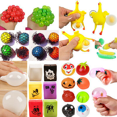 Mesh Squishy Squeeze Ball Grape Toy Lot Anti Stress Relief Reliever Soft Rubber