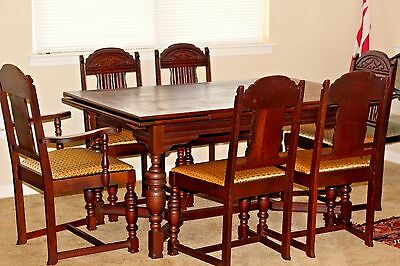 Antique Dark Oak Dining Table with 6 Chairs Extendable Pull Out Ends