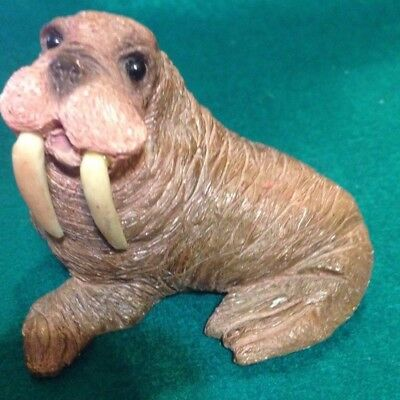 Walrus sitting Mold Sculpture NOS Alabastrite boxed Stone Critters