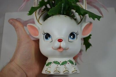Vintage Napco Deer Planter Ceramic White Reindeer Holiday Christmas fs