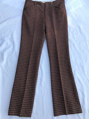 Vintage 1960s Mens Pants Double Knit Checked Golf 32 x 33