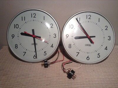 "TWO Vintage Standard Electric High School Style 120 VAC 12"" Wall Clocks"