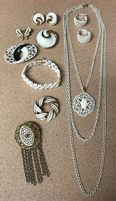 Lot Of 9 Pieces Vintage White Wash Enamel Jewelry~ Brooches Earrings Signed (G)