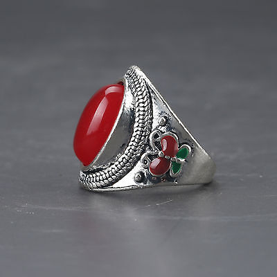Chinese Exquisite Tibet Silver Inlaid Red Zircon Handwork National Fashion Ring…