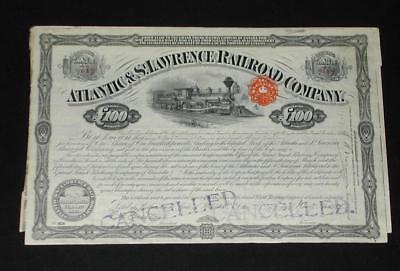 1917 Atlantic & St. Lawrence Railroad Stock Certificate w/some Coupons Attached.