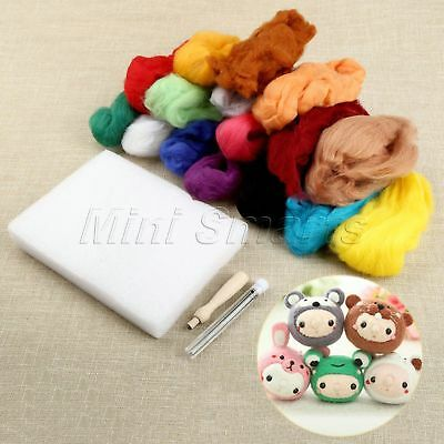 16 Colours Wool & 9 Needles & Felting Handlle 3 in 1 Set Great Gift Fun to Play