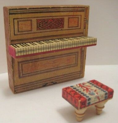Victorian Antique Paper Litho Wood Doll House Toy Piano w Bench BLISS 1890s RARE