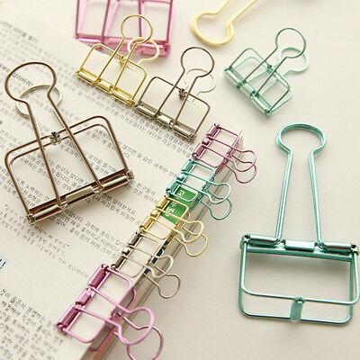 3pcs New Colorful Hollow Out Metal Binder Clips Ticket File Clip Office Supplies