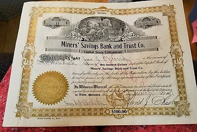 1907 Miners' Bank and Trust Butte Montana Stock Certificate